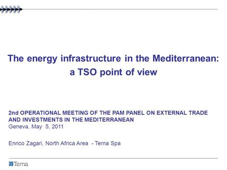 The energy infrastructure in the Mediterranean: a TSO point of view Enrico Zagari, North Africa Area - Terna Spa 2nd OPERATIONAL MEETING OF THE PAM PANEL.