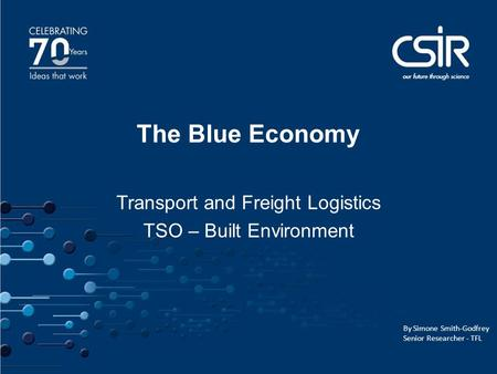 1 1 The Blue Economy Transport and Freight Logistics TSO – Built Environment By Simone Smith-Godfrey Senior Researcher - TFL.