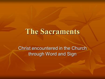 The Sacraments Christ encountered in the Church through Word and Sign.