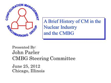 A Brief History of CM in the Nuclear Industry and the CMBG Presented By: John Parler CMBG Steering Committee June 25, 2012 Chicago, Illinois.