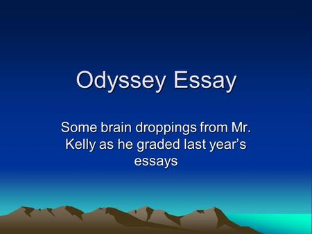 analytical essay of the odyssey