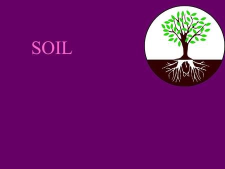 SOIL. Soil n composed of sand, silt, and clay, organic matter, living organisms, and pore spaces.