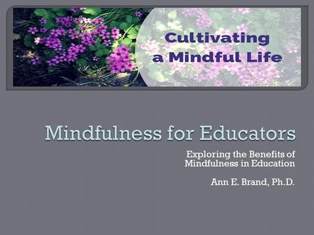 Exploring the Benefits of Mindfulness in Education Ann E. Brand, Ph.D.