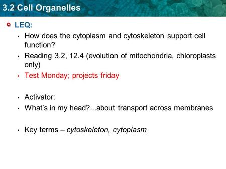 3.2 Cell Organelles LEQ: How does the cytoplasm and cytoskeleton support cell function? Reading 3.2, 12.4 (evolution of mitochondria, chloroplasts only)