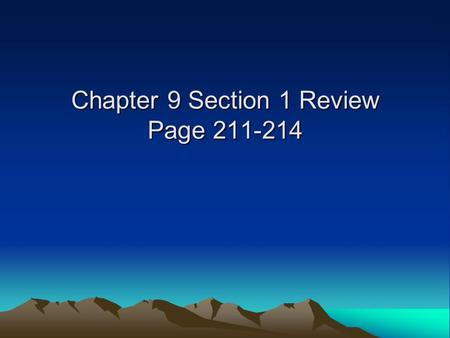 Chapter 9 Section 1 Review Page