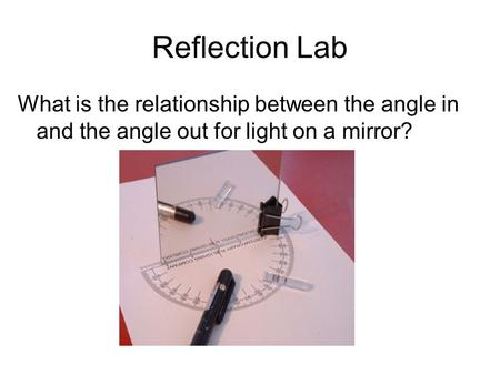 Reflection Lab What is the relationship between the angle in and the angle out for light on a mirror?