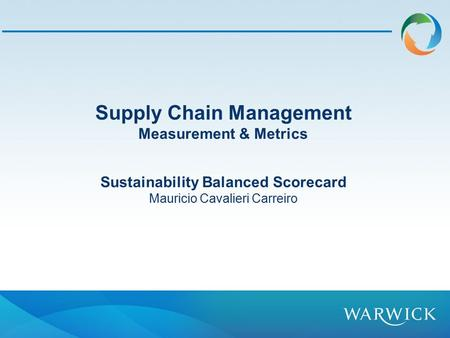 Supply Chain Management Sustainability Balanced Scorecard
