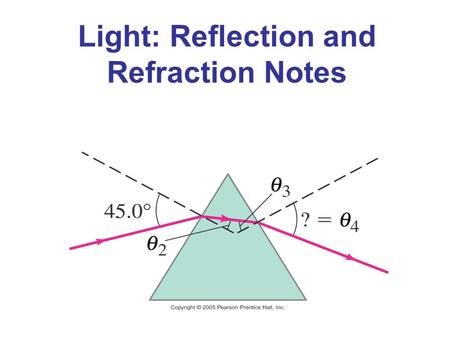 Light: Reflection and Refraction Notes. Index of Refraction In general, light slows somewhat when traveling through a medium. The index of refraction.