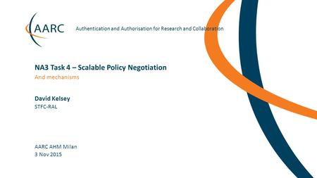 Https://aarc-project.eu Authentication and Authorisation for Research and Collaboration David Kelsey AARC AHM Milan And mechanisms NA3 Task 4 – Scalable.