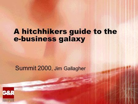A hitchhikers guide to the e-business galaxy Summit 2000, Jim Gallagher.