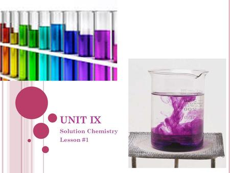 UNIT IX Solution Chemistry Lesson #1. I NTRODUCTION Solution Chemistry is the study of chemical reactions that occur in solutions… Reactions in solutions.