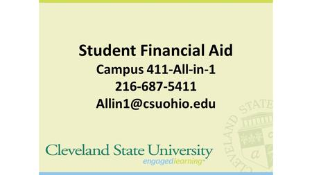 Student Financial Aid Campus 411-All-in-1 216-687-5411