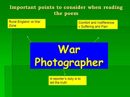 <strong>War</strong> Photographer Comfort and Indifference v Suffering and Pain A reporter's duty is to tell the truth Rural England vs <strong>War</strong> Zone Important points to consider.