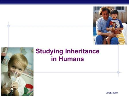 AP Biology 2006-2007 Studying Inheritance in Humans.