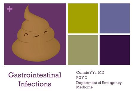 + Gastrointestinal Infections Connie Y Yu, MD PGY-2 Department of Emergency Medicine.