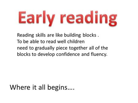 Where it all begins…. Reading skills are like building blocks. To be able to read well children need to gradually piece together all of the blocks to.
