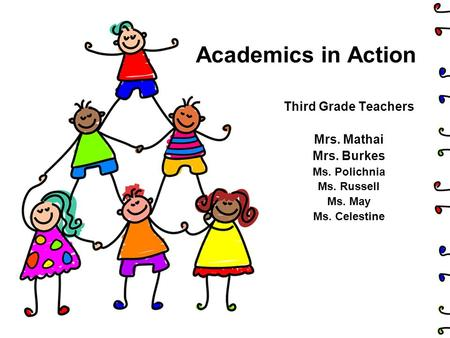 Academics in Action Third Grade Teachers Mrs. Mathai Mrs. Burkes Ms. Polichnia Ms. Russell Ms. May Ms. Celestine.
