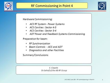 RF Commissioning in Point 4 Hardware Commissioning: ACS RF System - Power Systems ACS Cavities : Sector 4-5 ACS Cavities : Sector 3-4 ADT Power <strong>and</strong> Feedback.
