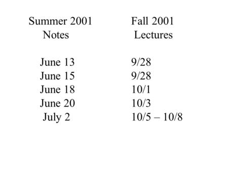 Summer 2001 Notes June 13 June 15 June 18 June 20 July 2 Fall 2001 Lectures 9/28 10/1 10/3 10/5 – 10/8.