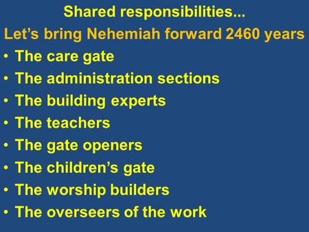 Shared responsibilities... Let's bring Nehemiah forward 2460 years The care gate The administration sections The building experts The teachers The gate.