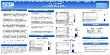 References Summary Background Quality Control Parameters for Omadacycline Minimum Inhibitory Concentration (MIC) Susceptibility Tests Using Fresh Media.
