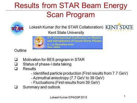 Results from STAR Beam Energy Scan Program Lokesh Kumar (for the STAR Collaboration) Kent State University Outline  Motivation for BES program in STAR.