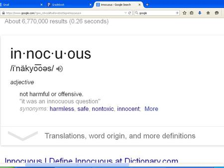 "Mon., March 9 Eng. 10-A WOTD: innocuous STARTER: Complete ""Speculation Journal #2"" (3 sentence minimum) HOMEWORK: Act III, Scenes ii-iii - Questions on."