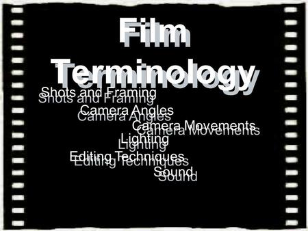 Film Terminology Film Terminology Shots and Framing Shots and Framing Camera Angles Camera Angles Camera Movements Camera Movements Lighting Lighting Editing.