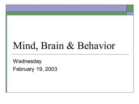 Mind, Brain & Behavior Wednesday February 19, 2003.