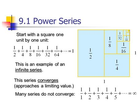 This is an example of an infinite series. 1 1 Start with a square one unit by one unit: This series converges (approaches a limiting value.) Many series.