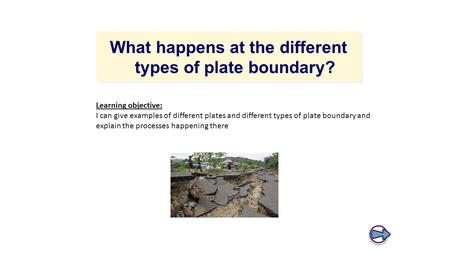 What happens at the different types of plate boundary? Learning objective: I can give examples of different plates and different types of plate boundary.