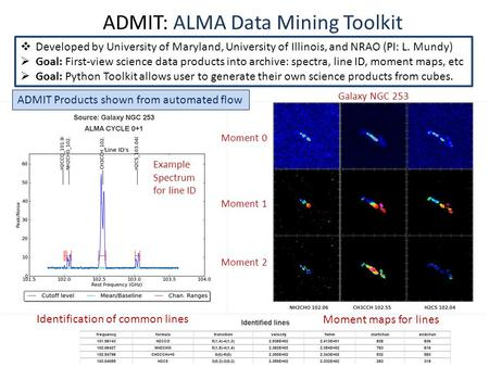 ADMIT: ALMA Data Mining Toolkit  Developed by University of Maryland, University of Illinois, and NRAO (PI: L. Mundy)  Goal: First-view science data.
