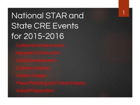 National STAR and State CRE Events for 2015-2016 California State Events: Apparel Construction Child Development Culinary Display Interior Design Menu.