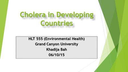 Cholera in Developing Countries HLT 555 (Environmental Health) Grand Canyon University Khadija Bah 06/10/15.