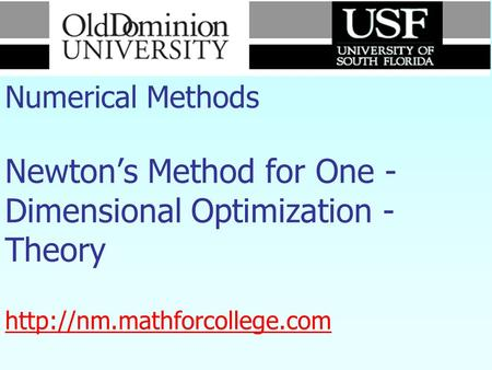 Numerical Methods Newton's Method for One - Dimensional Optimization - Theory