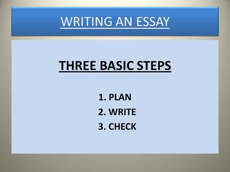 three steps to write an essay Student name: your reflective essay draft directions: follow the steps on the next three pages to create the first draft of your reflective essay drafting steps 1 write the first paragraph of your essay —drawing readers in as you provide some.