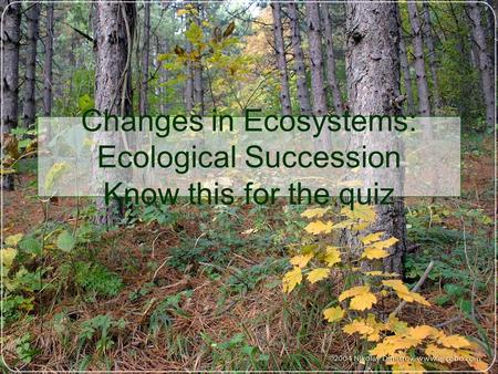 Changes in Ecosystems: Ecological Succession Know this for the quiz.
