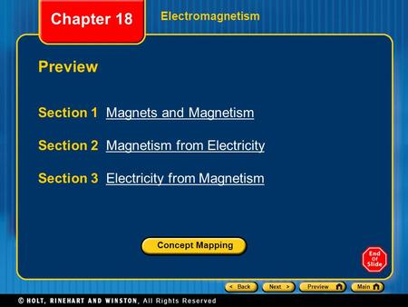 Chapter 18 Preview Section 1 Magnets and Magnetism