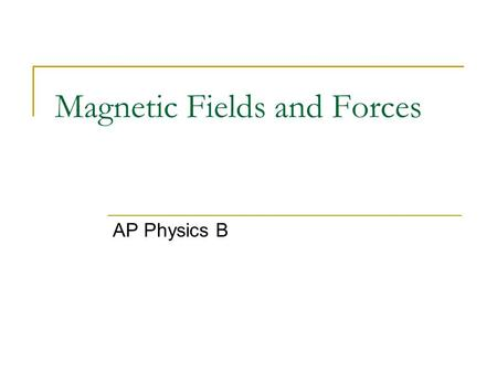 Magnetic Fields and Forces AP Physics B. Facts about Magnetism Magnets have 2 poles (north and south) Like poles repel Unlike poles attract Magnets create.