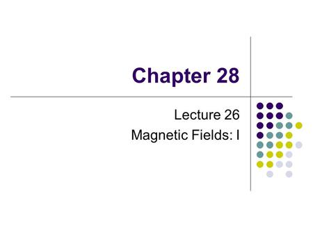 Chapter 28 Lecture 26 Magnetic Fields: I. Magnetic Poles Every magnet, regardless of its shape, has two poles Called north and south poles Poles exert.