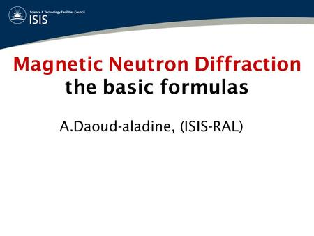 Magnetic Neutron Diffraction the basic formulas