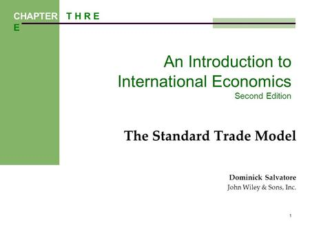 An Introduction to International Economics Second Edition