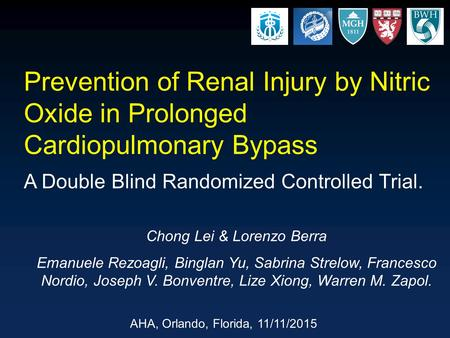 Prevention of Renal Injury by Nitric Oxide in Prolonged Cardiopulmonary Bypass A Double Blind Randomized Controlled Trial. Chong Lei & Lorenzo Berra Emanuele.