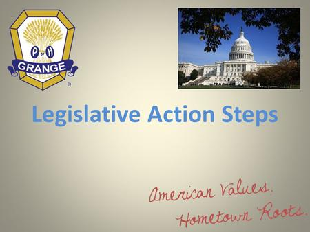Legislative Action Steps. PREPARE TO TAKE THE FIELD  Identify the issue's potential impact on you and on your business.  Reach out and alert others.