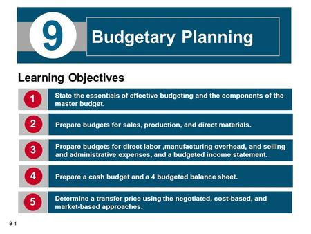 9 Budgetary Planning Learning Objectives