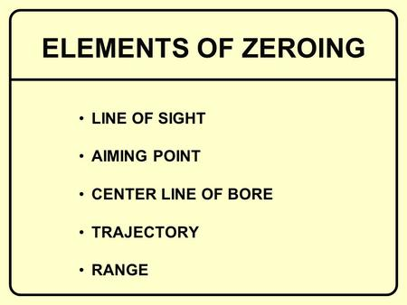 LINE OF SIGHT AIMING POINT CENTER LINE OF BORE TRAJECTORY RANGE ELEMENTS OF ZEROING.