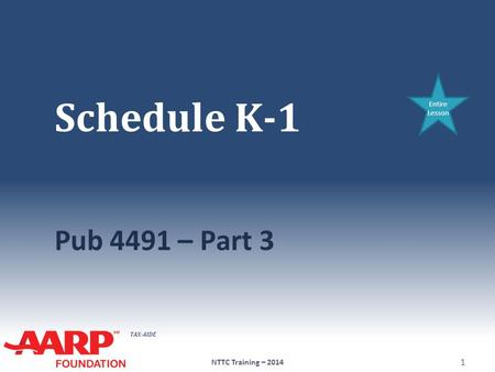 Schedule K-1 Entire Lesson Pub 4491 – Part 3 NTTC Training – 2014.