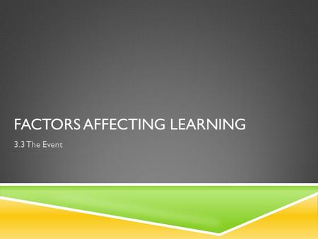 FACTORS AFFECTING LEARNING 3.3 The Event. PRIOR LEARNING: FACTORS AFFECTING LEARNING  Age Motor performance tends to deteriorate after the age of 30.