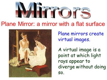 Plane Mirror: a mirror with a flat surface