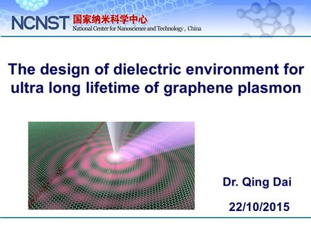 The design of dielectric environment for ultra long lifetime of graphene plasmon Dr. Qing Dai 22/10/2015.